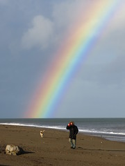 Rainbow after the Storm (sam2cents) Tags: rainbow walker goldenlabrador retriever hound sand strand man dog marine storm autumn