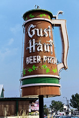 Meeting Gustave at the Gust Hauf (Pete Zarria) Tags: montana stein drink eat bar saloon old neon sign figure object small town city us 10