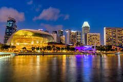 Landscape of the Singapore landmark financial district at sunset (MongkolChuewong) Tags: architecture asia bay built city cityscape crossroads culture dark district dome downtown dusk east esplanade evening exteriorfamous flyer helix hotel illuminated landmark lights marina modern national night opera public reflection reflex river roads roofsea ships singapore singaporean skyline streets styles sunset theater tourism traffic travel twilight urban viewwater waterfront wheel