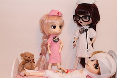 Nursing School Woes (Dollymama2015) Tags: pullip dal doll dolls nurses rn hospital patient bandages isul glasses uniform nurse nursing student medical treatment instructor nursingschool clinical