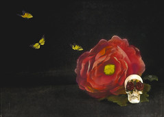 through rose coloured eye balls (rockinmonique) Tags: skullisagiftfromtheamazingv halloween spooky skull butterflies flower macro moniquew canon canont6s tamron copyright2017moniquew