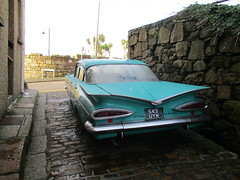 A Big Car in a Little Street (occama) Tags: 534uyw 1959 chevrolet impala aqua old car cornwall uk classic american usa us