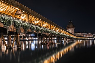 The Kapellbrücke spanning across dark waters