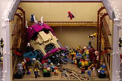 Sentinel Down (Frost Bricks) Tags: lego convention moc sentinel xmen battle superhero beatdown trask