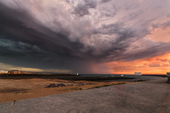 Inflow (MathieuGoalard|Photographies) Tags: 15082016 storm stormchaser stormchasing stormchase lights weather clouds cloudy sunset sony sonyalpha seascape seaside sea seawall sand city sky colors colorful