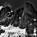 Peaks and Spires of Liberty Bell Mountain and Early Winter Spire (Black & White) thumbnail
