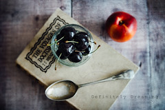 Cherries & More (DefinitelyDreaming) Tags: lensbaby velvet56 food foodphotography cherries blackcherries nectarine vintage book spoon