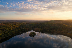 swartswood lake (sephrocker) Tags: drone landscape phantom4advanced dji reflection lake water sunrise island trees fall autumn
