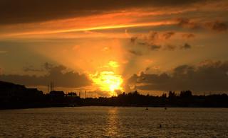 Sun rays at Preston Marina