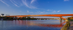 Gazela-Bridge-Sava-River-Belgrade (Predrag Mladenovic) Tags: belgrade sava river ada bridge newrailway gazela sunset twilight reflections citylights