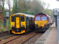 150216 & 66074 Penryn (Marky7890) Tags: dbcargo 66027 66074 class66 rhtt 3j15 penryn railway cornwall maritimeline train gwr 150216 class150 sprinter 2f81