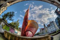 Fahnenmonument in Halle (Saale) (p h o t o . w o r l d s) Tags: fahnenmonument rotefahne halle saale sachsenanhalt deutschland fisheye fischauge hdr tonemapping photomatix fujixt10 7artisans75mm28 photoworlds