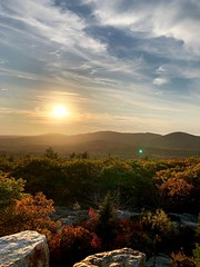 Autumn Colors from Atop Mount Battie in Maine (Scorpiol13) Tags: freshness meditation solitude tranquil peace beauty fallseason autumn newengland maine colorful leaves cliff rocks foliage scenicview top countryside nature mountain trees horizon skyline sunset
