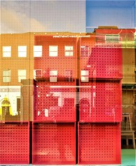 little boxes, little boxes... (LozHudson) Tags: red boxes glass reflection colours fujifilm fujix100s x100s manchester street streetphotography