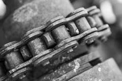 Industrial America (Michael Zahra) Tags: america us usa california deathvalley summer heat bw bnw urbex industrial grunge rust decay abandoned mechanical gear chain bolt screw nut canon macro dof bokeh depthoffield close closeup contract bold engineer engineering valve