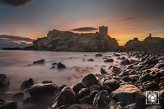 Kinbane Castle (W.G. Photography) Tags: sunrise colours clouds coantrim castle rocks beach golden longexposure panorama