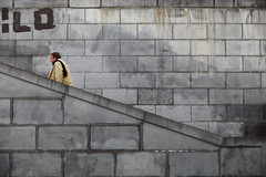 Mr ilo (Elios.k) Tags: horizontal outdoors people oneperson man stairs goingup concretewall urban raincoat montsdesarts kunstberg square garden colour color travel travelling april 2017 spring vacation canon 5dmkii camera photography brussels belgium europe bruxelles brussel