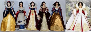All Six Limited Edition Snow White Dolls Side by Side - Composite Image