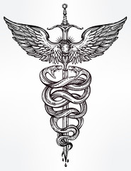 Caduceus symbol of god Mercury illustration. (destroyertwig) Tags: alchemy animal art background caduceus culture design drawing element engraving graphic greek health hermes icon illustration isolated magic medicine myth print serpent sign snake staff symbol tattoo vector vintage viper wing mercury commerce winged past white black coloring boho chemistry decorative emblem mysticism pharmacist spiritual traditional sword weapon blade dagger