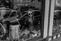 DSCF1261.jpg (RHMImages) Tags: monochrome blackandwhite bnw nevadacounty streetphotography x100f bw nevadacity fujifilm fuji halloween dayofthedead storewindow