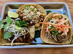 taco trio at Mestiza (Fuzzy Traveler) Tags: tacos corntortillas beef pork jalapeños onions carrots pineapple mestiza soma sanfrancisco food restaurant mexican mexicanfood filipino filipinofood