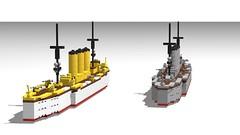 Dresden Class Light Cruisers (GBDanny96) Tags: lego moc sms dresden emden light cruiser world war 1 ww1 military vehicle ship boat
