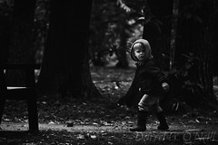 What Was That? (LongInt57) Tags: boy child children person people pathway walking bench trees dark scary fear afraid spooky westkelowna bc canada okanagan