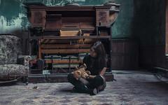 Girl of constant sorrow (Adam R.T.) Tags: urbex decay model pretty cute girl woman sitonthefloor piano orgue tortured teddybear armchair tiles old villa sorrow goth sad mood desperate childish contrast alone portrait rural classic rusted urbexground lost exploration