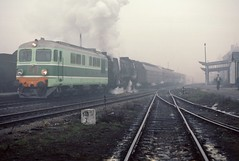 Nysa PKP  |  1987 (keithwilde152) Tags: pt47 st43 nysa lower silesia pkp poland 1987 station platforms tracks passenger train town diesel steam locomotives outdoor winter fog
