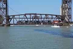 NS BF10 at Cleveland Drawbridge (craigsanders429) Tags: bridges railroadbridges rivers river water waterways watercraft cuyahogariver cleveland norfolksoutherntrains nschicagoline nsmotivepower nslocomotives boats