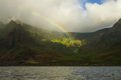 Kauai Rainbows (Matt Champlin) Tags: rainbow amazing exotic mountains ocean beach napali kauai hawaii travel usa paradise lush green rainforest canon 2017 nature boat boating pacific napalicoast jurassiccoast rain summer incredible