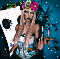 Dia de los muertos (eloen.maerdrym) Tags: eloensotherworld secondlife releases fantasy fashion roleplay fall witch witchcraft diadelosmuertos halloween violetility 7deadlys{k}ins clawtooth warpaint sotw seasonofthewitch lesix lesixevent thesecretaffair zibska venge vengefulthreads bodyfy dpkoffinnails entice weloveroleplay we3rp pr pukerainbows kres chezmoi release spider candles muerte death