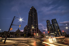 Big City Life (mystero233) Tags: city town mississauga toronto ontario skyscraper tower building alone dark night street light car neogothic gothic architecture outdoor landscape wideangle canada north america