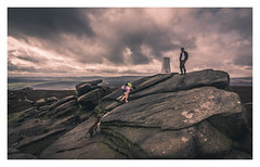 Reaching the Summit. (Ian Emerson) Tags: summit trig tor peakdistrict derbyshire people hikers dogs climbing views landscape outdoor canon