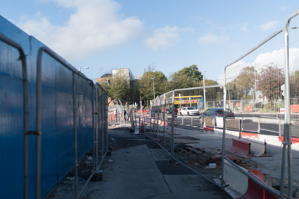 CONSTRUCTION STILL UNDERWAY AT THE BROADSTONE TRAM STOP [THE SCENE IS SOMEWHAT COMPLICATED]-133005