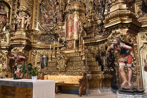Cadaqués. Parish Church. Basement of the altarpiece dedicated to the Virgin Mary. Carved 1723-1729. Gilded 1770-1788. Joan Torras and Pau Costa, sculptors