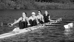 4x 16-09-17  (17 bw) (Big Warby) Tags: davidwarburton bigwarby northyorkshire stocktonontees rivertees river rowing sculling quad 4x boat scull blades women exercise