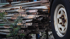 Scaffolding and Trailer Tyre (Theen ...) Tags: adelaide black block empty lumix metal rubber scaffolding theen trailer tyres underdale weed wheel white