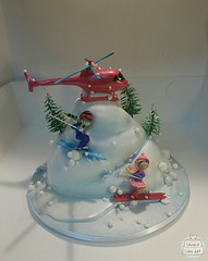 SKIERS AND HELICOPTER 32030 by Creative Cake Art #melbourne #novelty #cakes (www.creativecakeart.com.au) Tags: skiing cake novelty cakes melbourne affordable creative art artisitc