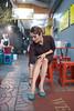 Wong Kar Wai tribute (jenny_yoshiko) Tags: night thailand thai chinese nightlights neon fluorescentlight girl hairstyle retro shoes street people woman lonely