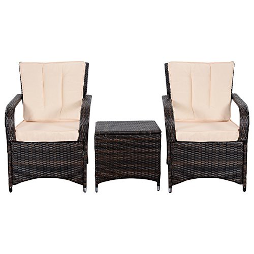 Tangkula 3 PCS Outdoor Patio Sofa Sets Rattan Furniture Two Arm Chairs and Ende Table Review
