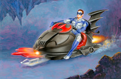 Robin on the Snowmobile, illustration by Morgan Weistling, 1997 (Tom Simpson) Tags: robinonthesnowmobile illustration morganweistling 1997 robin 1990s vintage painting snowmobile art batmanrobin