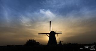 Windmill Nederwaard No. 5, Kinderdijk during sunset.