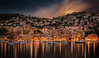 Villefranche-sur-Mer (Alex Lud) Tags: france villefranchesurmer frenchriviera sea water city urban orange church boat yacht reflections sunset sky longexposure alexlud clouds nopeople