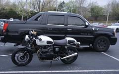 Oklahoma City Coffee & Cars (pocket litter) Tags: oklahomacity oklahoma truck motorcycle coffeeandcars ext escalade thruxton pickup triumph