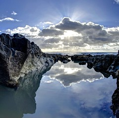 A letter from Ogmore by Sea (pauldunn52) Tags: rock pool sunburst clouds reflection rocks seaweed ogmore by sea glamorgan heritage coast wales
