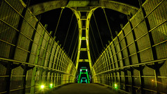 Tynehead Portal (Sworldguy) Tags: pedestrian overpass nightscene bridge span surrey illuminated glowing geometric night path steel lightbridge led architecture transcanadahighway freeway longexposure nikon d7000 dslr tyneheadpark greenway walkway matrix structure pattern leadinglines perspective vanishingpoint yellow green beautifulgeometry flickrfriday