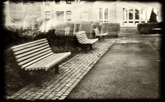 the empty benches (krøllx) Tags: 2017 icm nikc wwpw benches blurred city europe fotovandring intentionalcameramovements kveldsfotografering midtnorge midtbyen monochrome nightphotography norway photowalk scandinavia scottkelby scottkelbyphotowalk sepia trondheim trøndelag worldwidephotowalk worldwidephotowalk2017 yard 20171007dsc07636edit