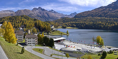 Lake of Sankt Moritz (Karl Le Gros) Tags: sanktmoritz graubünden grisons switzerland 2017 lake xaviervonerlach sonyilce7rm2 zeisssonnartfe55mmf18za october panorama landscape swissalps