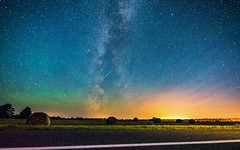 Hay Bales Under the Milky Way (free3yourmind) Tags: hay bales stars starry night sky milky way harvest field colorful universe belarus light lights